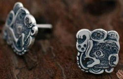 Silver Mayan Bat Design Post Earrings - Product Image