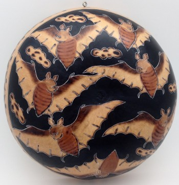Peruvian Carved Decorative Gourd With Bats