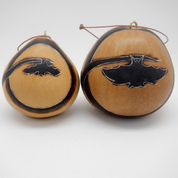 Peruvian Carved Gourd Bat Silhouette Ornaments (Two Sizes) - Product Image
