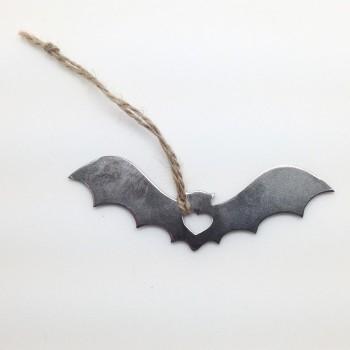 Rustic Steel Love Bat Ornament - Product Image