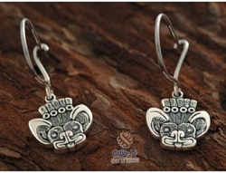 Silver Aztec Bat Design Hook Earrings - Product Image