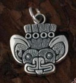 Silver Aztec Bat Design Pendant - Product Image