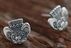 Silver Aztec Bat Design Post Earrings - Product Image