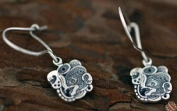 Silver Mayan Bat Design Hook Earrings - Product Image