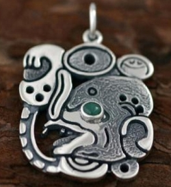 Silver Mayan Bat Design Pendant - Stone Eyes - Product Image