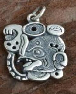 Silver Mayan Bat Design Pendant - Product Image