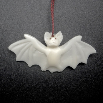 Hand Carved Tagua Bat Ornament - Product Image
