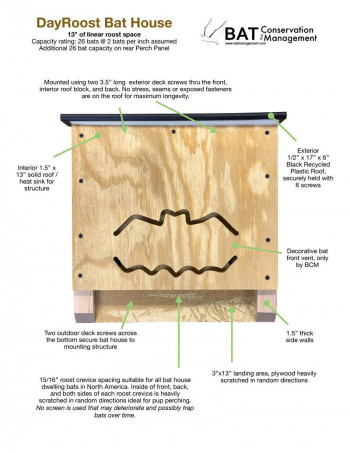 DayRoost - Single Chamber, Plywood, Fully-Assembled Bat House - Product Image
