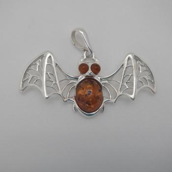 Amber Detailed Lace Winged Bat Pendant - Product Image