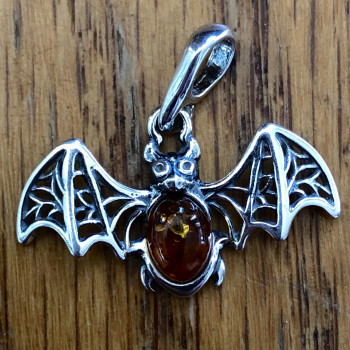 Amber Sterling Sliver Lace Wing Small Pendant - Product Image