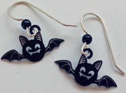 Baby Bat Black Silhouette Earrings - CURRENTLY OUT OF STOCK - Product Image