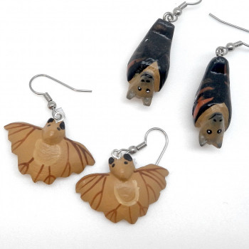 Balsa Wood Carved Bat Earrings - Product Image