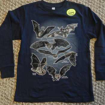 Bat Species In Flight Youth  Long Sleeve Tee Shirt (Navy) - Product Image
