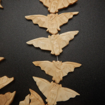 Carved Bone Bat Beads - Product Image