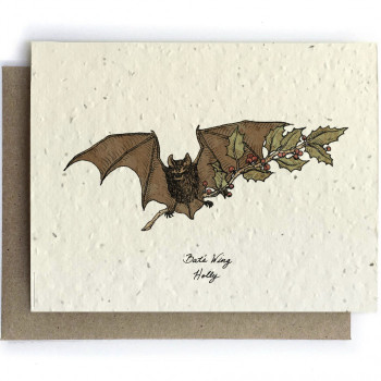 Bat and Holly Individual Note Card (on plantable post-consumer paper with mixed flower seeds) - Product Image