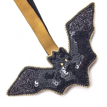 Black Bat Sequined Ornament - Product Image