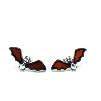 Cherry Amber Bat Stud Earrings - Product Image