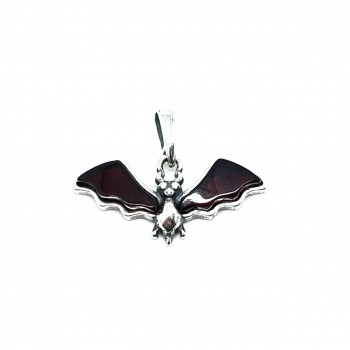 """Cherry Amber Sterling Silver """"Bat"""" Pendant - Product Image"""