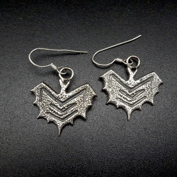 Chevron Pattern Sterling Bat Earrings - Product Image
