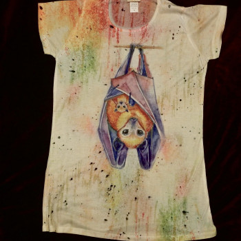 Color Splash Fruit Bat Ladies Shirt - Product Image