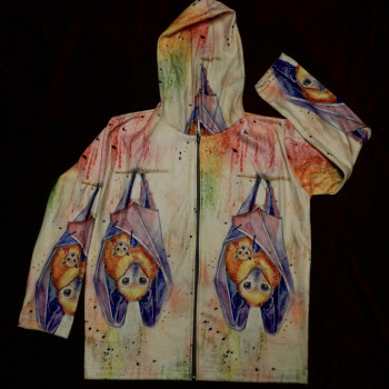 Color Splash Fruit Bat Ladies Sweatshirt - Product Image