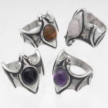 Crystal Moon Bat Ring - Product Image
