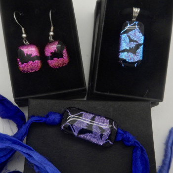 Dichroic Glass Bats Matching Jewelry - Product Image