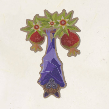 Fruit Bat Kraft Sticker - Product Image