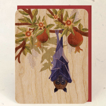 Fruit Bat and Pomegranate Individual Wood Greeting Card - Product Image