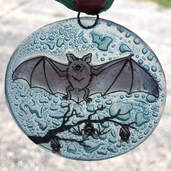 Fused Glass Bats Ornament - Product Image