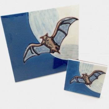 Hand Painted Bat Tile - Product Image