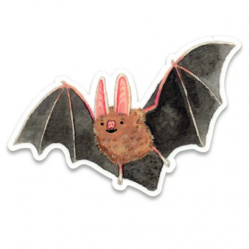 Happy Bat Illustration Sticker - Product Image