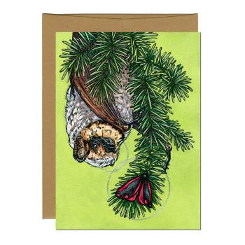 Hoary Bat & Moth Greeting Card - Product Image