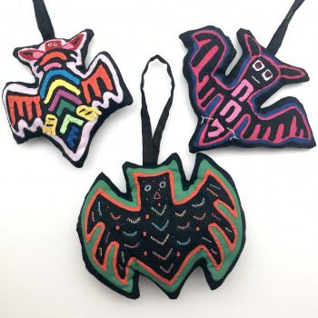 Mola Bat Ornaments (3 Styles) - Product Image
