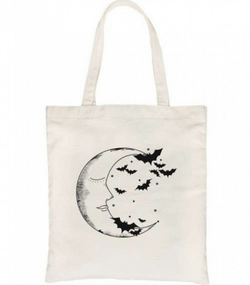 Moon And Bats Canvas Bag - Product Image