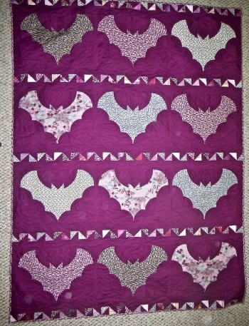 "Pink and Gray Bats Quilt 52"" by 72"" - Product Image"