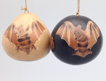 Peruvian Carved Gourd Bat Ornaments Style One - Product Image