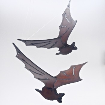 Rustic Hanging Bat Art - Product Image