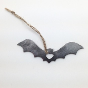 Rustic Steel Love Bat Ornament - Product Image