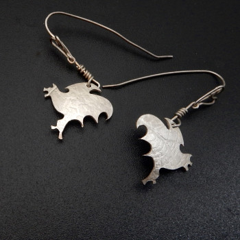 Silver Flying Bat Earring By Teresa Williams - Product Image