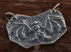 Silver Fossil Bat Design Pendant - Product Image
