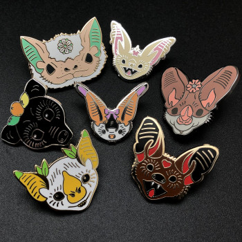"""Sky Puppies"" Enamel Clutch Back Bat Pins (Sold Individually) - Product Image"