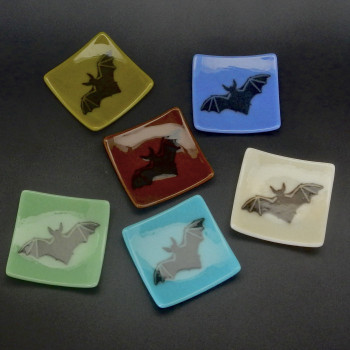 Small Fused Glass Tea Bag, Jewelry, Candle Holder Plates - Product Image