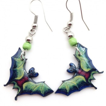 Spirit Of Nature Green Bat Earrings