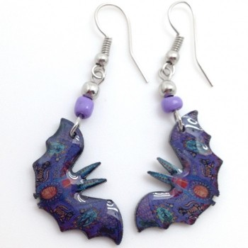 Spirit Of Nature Purple Bat Earrings - Product Image