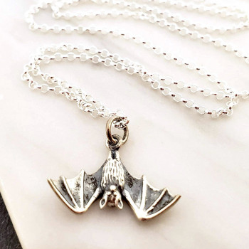 Sterling Silver Bat Charm Necklace - Product Image