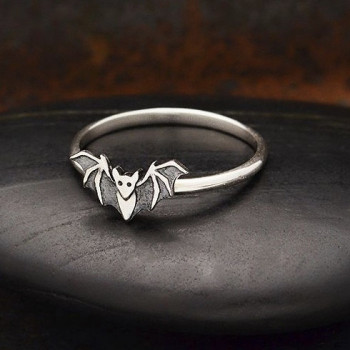 Sterling Silver Tiny Bat Ring - Product Image