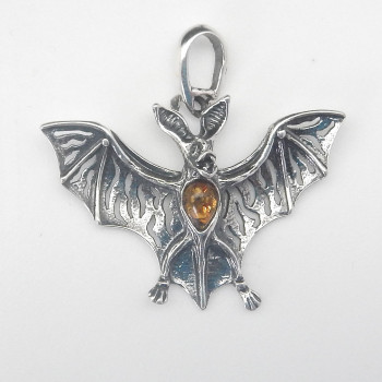 Sterling Silver and Amber Big Eared Bat Pendant - Product Image