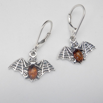 Sterling Silver and Amber Symmetrical Lattice Wing Bat Earrings - Product Image