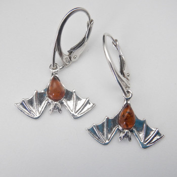 Sterling Silver and Amber Natural Wing Bat Earrings - Product Image
